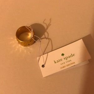 Kate Spade Hammered Gold-Tone Metal Wide Band Ring